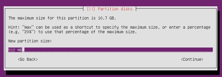 Partition size